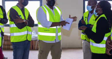 Maruza Chikwanha (centre), Development Director, Africa Logistics Properties, leads a delegation from the Kenya Green Building Society on a tour of ALP North, the first industrial development in Africa to receive IFC Excellence in Design for Greater Efficiencies (EDGE) Certification, as part of the KGBS' commemoration of the World Green Building Week 2021. PHOTO/COURTESY